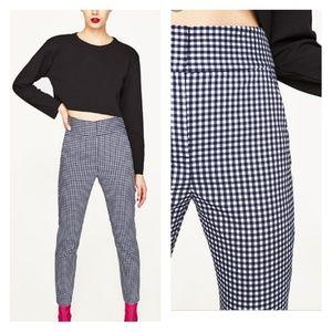 Zara Gingham High Waist Cropped Skinny Pants